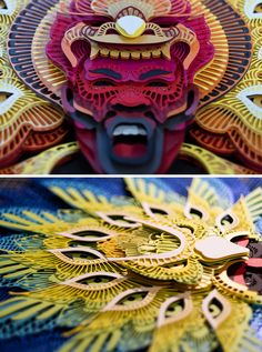 Filipino Culture, Fashion Words, Paper Mask, Big Animals, Colossal Art, Museum Of Contemporary Art, Peacock Feathers, Paper Cutting, Origami