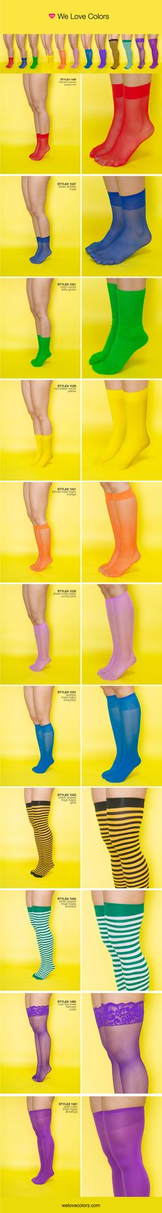 Socks in all the colors of the rainbow and more!!