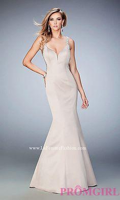 Mermaid Style Long Sweetheart Open Back La Femme Prom Dress at PromGirl.com