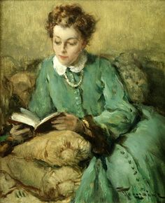 Fernand Toussaint (Belgian painter) 1873 - 1955 Femme Lisant, s. oil on canvas 26 x 21 cm. People Reading, Book People, Reading Art, Woman Reading, Reading Books, Alfred Stevens, Art Occidental, Books To Read For Women, World Of Books