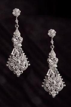 Erica Koesler Hanging Silver and Rhinestone Earrings $200.00