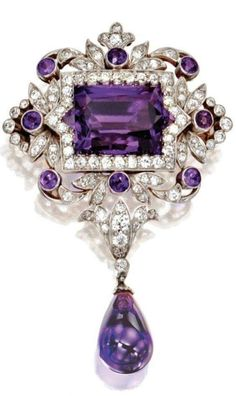 Who likes purple? Gold, Platinum, Amethyst and Diamond Pendant-Brooch, Tiffany & Co., Circa 1900 Set in the center with a fancy rectangular star-cut amethyst, within an openwork frame of foliate design set with old mine and old European-cut diamonds weighing approximately 1.80 carats, accented by round amethysts, supporting an amethyst pendant, signed Tiffany sold Sotheby's for $86,500 in 2011