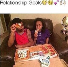 That $20 pizza box...yasss but not a relationship goal. Lazy night in goal