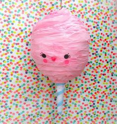 this adorable ball of cotton candy is a pinata!