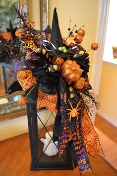 Witch Hat Halloween Lantern by Kristen's Creations, unfortunately sold out from her Etsy shop.