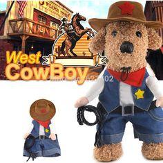 Aliexpress.com: Compre 2016 nova suporte Cowboy Jean Costume para Cat Dog Pet primavera verão cães roupas brasão Cowboy Jean Jacket com um chapéu e um chicote de confiança trajes havaí fornecedores em 12 Years a Kitten Slave