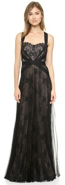 Notte by Marchesa Lace & Mesh Gown