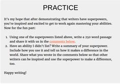 January 29, 2016 Write Practice post practice section