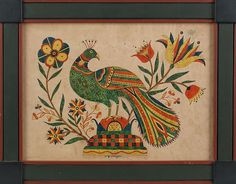 """David Y. Ellinger (American 1913-2003), watercolor fraktur of a peacock, signed lower middle, 10 1/2"""" x 14 1/2"""".  Estimate: $800–$1200  Realized Price: $1007"""