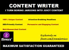 be Your SEO Content Writer or Blog Content Writer by crownservices