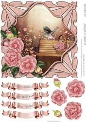 Pink Camellias Shaped Card Topper