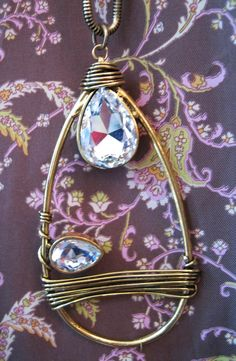 Large Bound wire and diamonte crystal pendant necklace £35