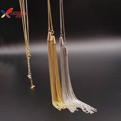 Christmas Gift Fashion Elegant Gold Silver Long Tassel Snake Chain Sweater Female Pendant Necklace Jewelry Collier De Femme
