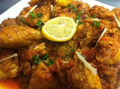 Chicken karahi, also known as gosht karahi and kadai chicken is a Pakistani and North Indian dish noted for its spicy taste. The Pakistani version does not have capsicum or onions whereas the North Indian version uses capsicum. The dish is prepared in a karahi (wok). It can take between 30 to 50 minutes to prepare and