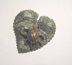 ButtonArtMuseum.com - Vintage Copper Beetle Creeping Across Lovely Heart Shape Leaf Button