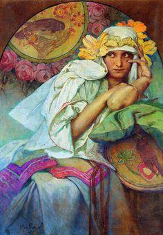 Alfons Mucha - portrait of artist's daughter Jaroslava (1920)