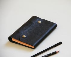 Black leather notebook A6