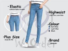 264 Light Blue Korean Style Women's Elastic Highwaist Jeans Buy Jeans Online Malaysia Buy Jeans Online, Light In The Dark, Light Blue, Korean Style, Looking For Women, Korean Fashion, Skinny Jeans, Plus Size, Womens Fashion