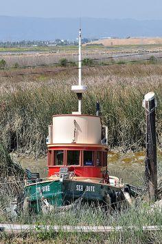 Old Tug Boat at the Alviso Marina Abandoned Ships, Abandoned Places, Nautilus Submarine, Old Boats, Sail Boats, Shrimp Boat, Living On A Boat, Heart Place, Fishing Vessel
