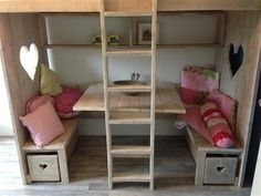 Super nice play area under the bed. Home Bedroom, Girls Bedroom, Bedroom Decor, Cool Beds, Kid Spaces, Kid Beds, Kids House, Kids Furniture, Girl Room