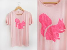 Neon Pink Squirrel HAND STENCILED Animal Series - Viscose Scoop Neck Oversized Tee in Peach - S M L XL. $32.00, via Etsy.