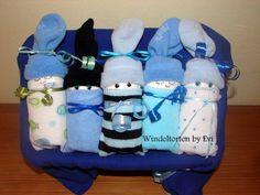 Windelbabys 'Blau', die etwas andere Windeltorte! von Windeltorten By Evi auf DaWanda.com