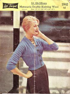 The   Vintage   Pattern   Files: 1950's Knitting - Lee Target Cardigan