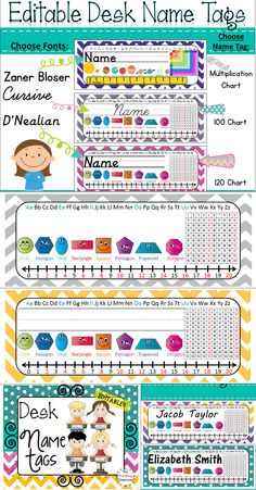 Chevron Polka Dot Desk Name Plates with 60 Editable Name Labels!  I love the colors in this set!$