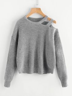 Personalized hem cross button o-neck long sleeve knitting pullover sweater women winter autumn mori girl Cable Knit Jumper, Cropped Sweater, Pullover Sweaters, Loose Sweater, Gray Sweater, Crewneck Sweater, Sweater Outfits, Casual Outfits, Fashion Outfits