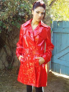 Red PVC Hooded Raincoat | lady in red (where red for lady health ...