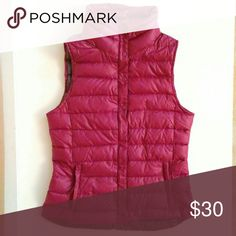 """GAP Down Vest XS Lightweight Puffer GAP Down Vest Lightweight Warm Puffer - great year-round!  Magenta / Burgundy / Plum color looks great with every skin tone.  Women's Size XS  16"""" chest 23"""" length  Two faint black smudges on left chest area that measure less than 2 inches each. GAP Jackets & Coats Vests"""