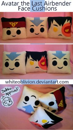 Avatar The Last Airbender Face Cushions by WhiteOblivion on DeviantArt