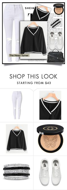 """Shein contest"" by melika11 ❤ liked on Polyvore featuring Gucci, Effy Jewelry, Vans and Fendi"