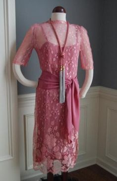 Vintage 20's style Mauve 3 pc flapper Dress, perfect for Spring! FREE SHIPPING
