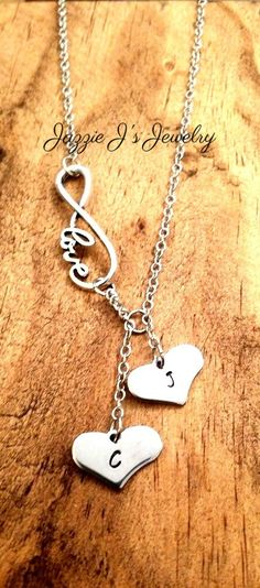 Infinity Necklace with Hand Stamped Hearts, Personalized Infinity Necklace, Infinity Necklace, Custom Necklace, Couples, Mother by JazzieJsJewelry on Etsy