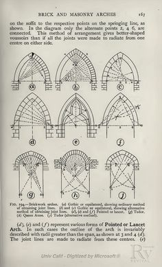 Revival Source Source byPractical Geometry for Builders and Architects Geometry Architecture, Architecture Concept Drawings, Brick Architecture, Historical Architecture, Architecture Details, Pavilion Architecture, Geometric Drawing, Geometric Art, Gothic Pattern