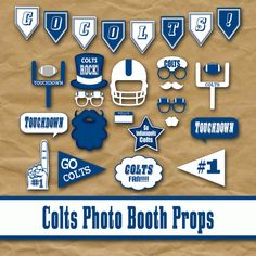 Indianapolis Colts Football Photo Booth Props and Decorations - printable Birthday Party idea