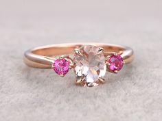 3 stones Morganite Engagement ring,Rose gold,Tourmaline wedding band,14k,6x8mm Oval Cut,Gemstone Promise Bridal Ring,Plain gold by popRing