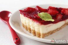 Receita de Torta cheesecake de morango - Comida e Receitas