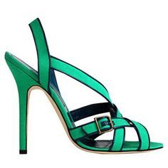 Manolo Blahnik, green sandals - if only the heel was shorter and the black trim was a perfect purple!