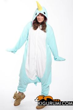 """Scientists might not refer to narwhals as """"sea unicorns"""" but that doesn't stop us! Tusk, horn, same difference: put on this Narwhal kigurumi onesie and you'll be as mythical as any four-legged hoofed"""