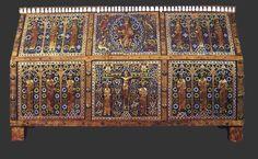 Châsse reliquaire de saint Calmin - Émail champlevé, Limoges, XIIe siècle - Mozac (Puy-de-Dôme)