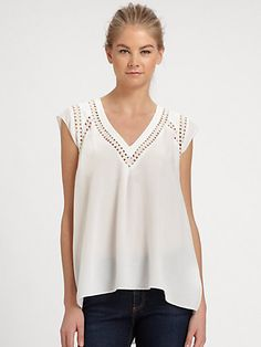 Rebecca Taylor - Embroidered Silk Blouse - Saks.com #InspirationIsEverywhere #DesignYourLife #1008designs #tenoeightdesigns www.tenoeightdesigns.com