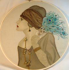 Vintage lady with peacock fan mixed media hoop - NEEDLEWORK