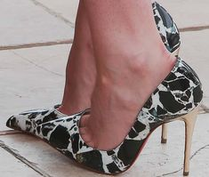 """Kristen Stewart slipped her feet into a pair of marble print Christian Louboutin """"Pigalle Follies"""""""