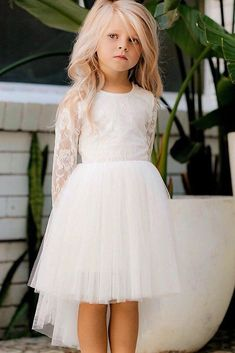 Flower Girl Dresses To Create A Magic flower girl dresses with long sleeves tulle skirt country lace top miss g style · Sweet Lady · Online Store Powered by Storenvy Source by Fridaydressdress dress for pictures Flower Girl Dresses Country, Wedding Flower Girl Dresses, Lace Flower Girls, Little Girl Dresses, Kids Wedding Dress, Girls Dresses, Magic Flower, Outfits Casual, Emo Outfits