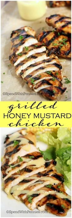 Easy Grilled Honey Mustard Chicken is tender & juicy... totally irresistible! This can be grilled (or baked) for the perfect summer meal and this chicken is perfect on a fresh crisp salad!