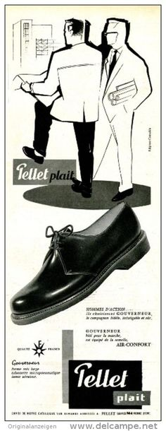 Werbung - Original-Anzeige / Publicité 1957 - (en français) CHAUSSURES PELLET - ca. 110 x 320 mm
