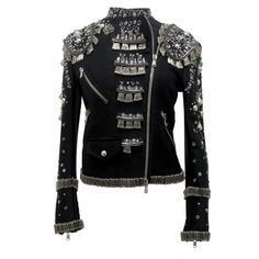 Punk Inspired Moschino Safety Pin Jacket | From a collection of rare vintage jackets at http://www.1stdibs.com/fashion/clothing/jackets/