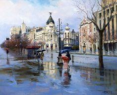 Ricardo Sanz – Por la calle de Alcalá Óleo sobre lienzo. 81×100 cms.